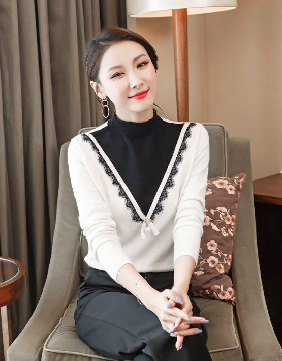 AL935 : Áo len dệt kim trắng HQ phối cổ cao chữ V màu đen