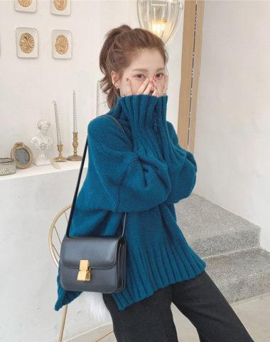 AL939 : Áo len dệt kim dáng thụng vạt so le cổ lọ cao