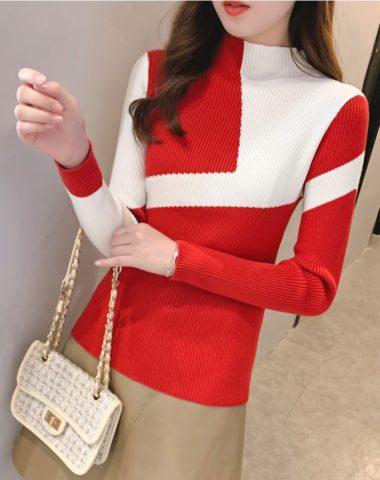 AL936 : Áo len dệt kim ôm phối 2 màu chéo cổ cao