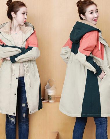 K1999 : Áo khoác phao HQ phối 3 màu lót lông cừu dày mịn ấm áp có mũ sau