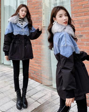 K19100 : Áo khoác Jean phối kaki màu lót lông thỏ mịn cổ lông thú