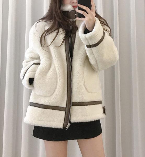 K19101 : Áo khoác lông cừu dày HQ phồi viền da 2 túi