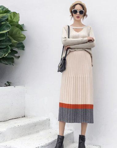 CL1908 : Chân váy len dệt kim xếp ly xòe HQ viền màu