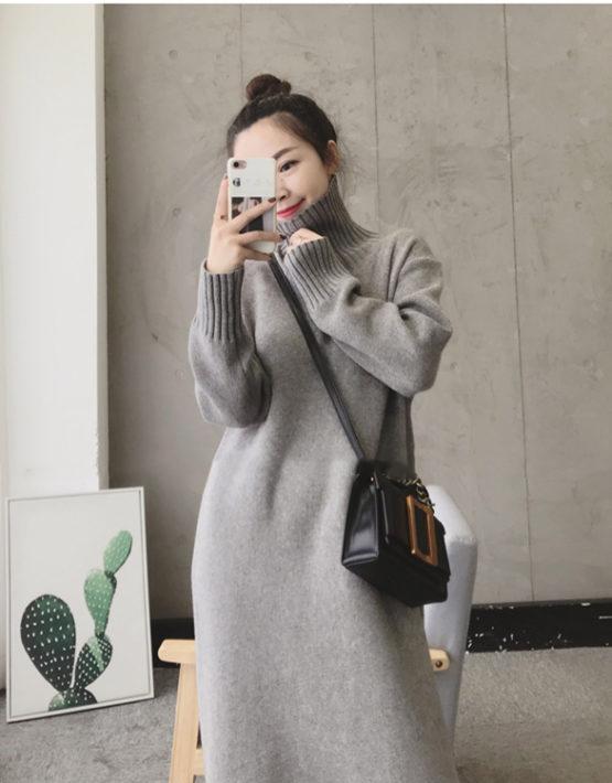 DL1931 : Đầm len dệt kim dáng suông dày HQ cổ lọ cao