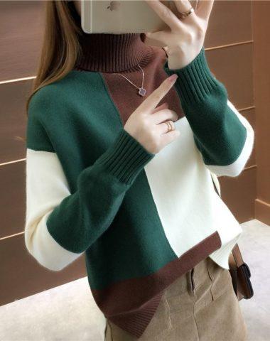 AL943 : Áo len dệt kim phối ô vuông 3 màu dáng suông cổ lọ gập