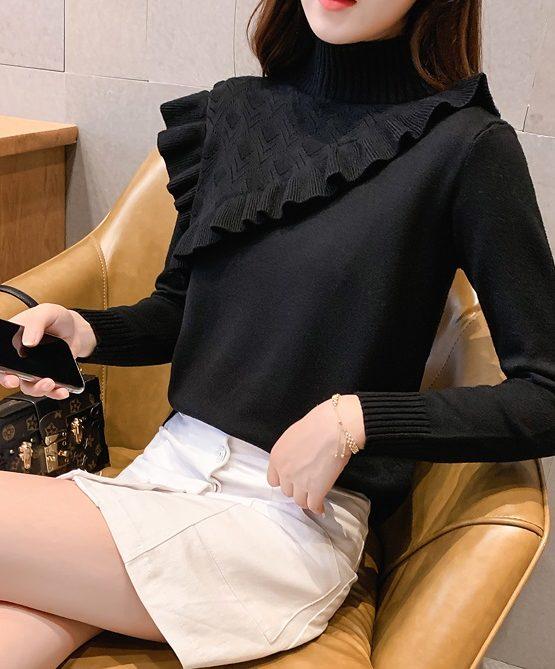 AL941 : Áo len dệt kim cổ cao bèo chéo 1 bên ngực