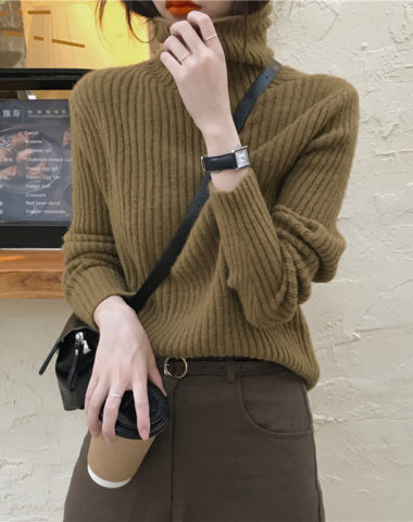 AL942 : Áo len dệt kim dày cổ lọ gập ấm áp