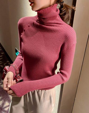 AL946 : Áo len dệt kim ôm cổ lọ gập đính nút chéo