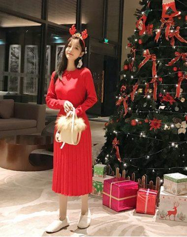 DL1936 : Đầm len dệt kim cao cấp cổ tròn xếp ly chân váy