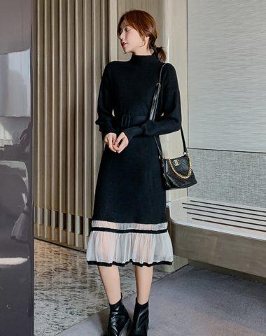 DL1940 : Đầm len dệt kim cổ cao phối ren lưới chân đầm