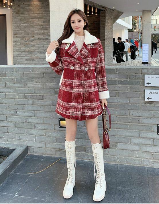 K19113 : Áo khoác dạ sọc kẻ HQ lót lông cừu cổ lông bẻ ấm áp