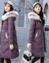 K19112 : Áo khoác phao thân dài mũ lông thú viền màu HQ