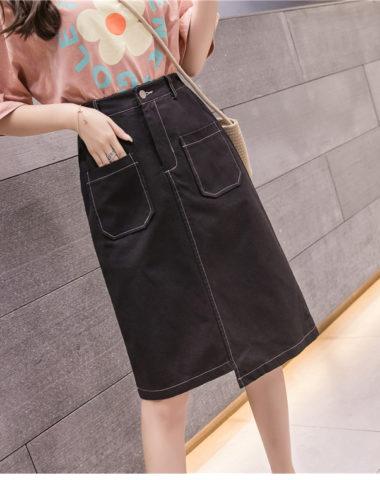 CV202 : Chân váy denim cạp cao vạt sole 2 túi trước