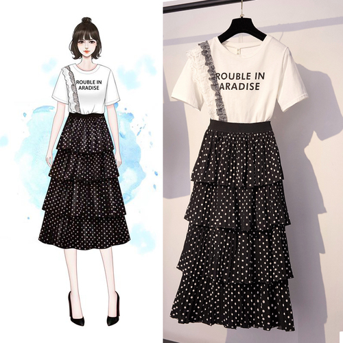 SB203 : Set bộ áo thun + chân váy chấm bi xòe tầng
