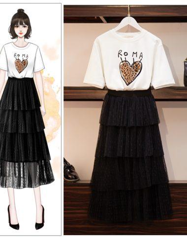 SB204 : Set bộ áo thun in tim + chân váy ren lưới xòe tầng