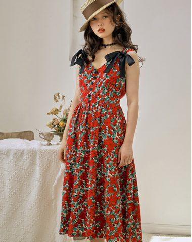 D201 : Váy voan hoa cổ chữ V thắt nơ 2 vai