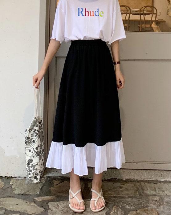 CV206 : Chân váy xòe chữ A dài viền bèo xếp ly