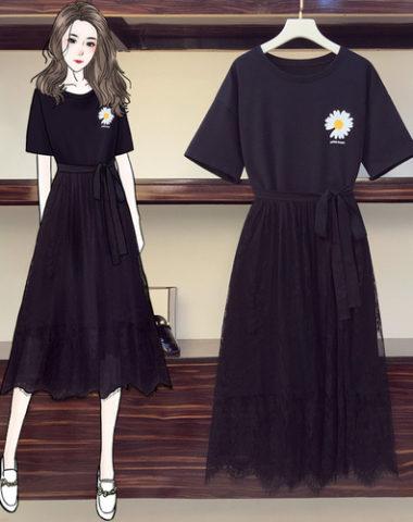 SB210 : Set bộ đầm thun suông hoa cúc + chân váy ren thắt đai