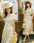 D213 : Váy voan chanh dài cổ chữ V thắt dây bên hông