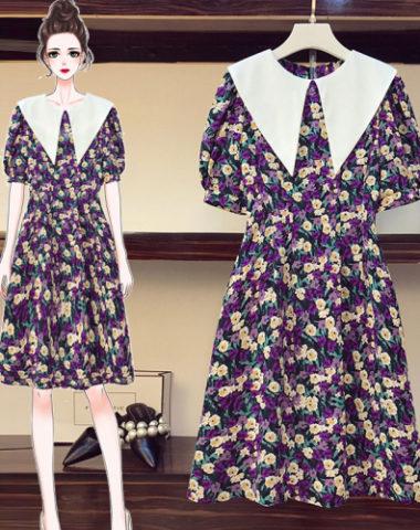D221 : Váy voan hoa búp bê xòe cổ bẻ nhọn