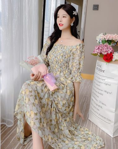 D215 : Váy voan hoa ngực thun xòe dễ thương tay lửng