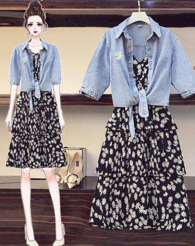 SB209 : Set bộ váy 2 dây xòe tầng hoa cúc + áo khoác jean ngoài