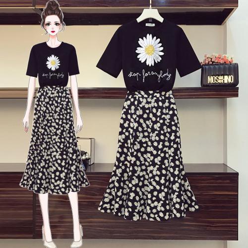 SB208 : Set bộ áo thun hoa cúc + chân váy voan hoa cúc đuôi cá