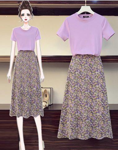 SB206 : Set bộ áo thun + chân váy xòe hoa nhí dài