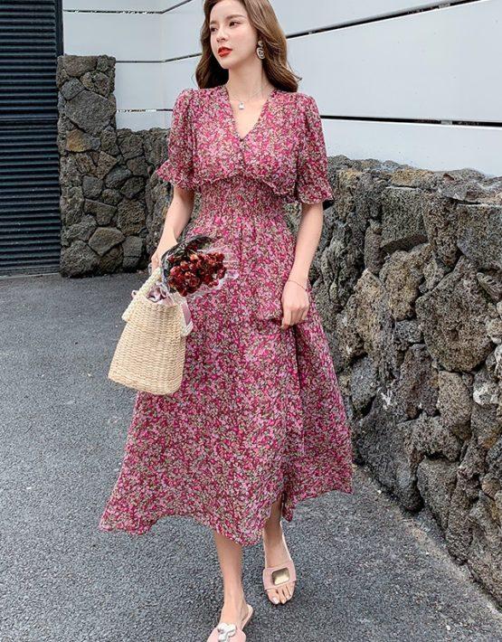 D217 : Váy voan hoa nhí dài cổ chữ V eo thun cao