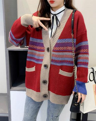 K204 : Áo khoác len cardigan thân dài cổ chữ V lớn cài nút