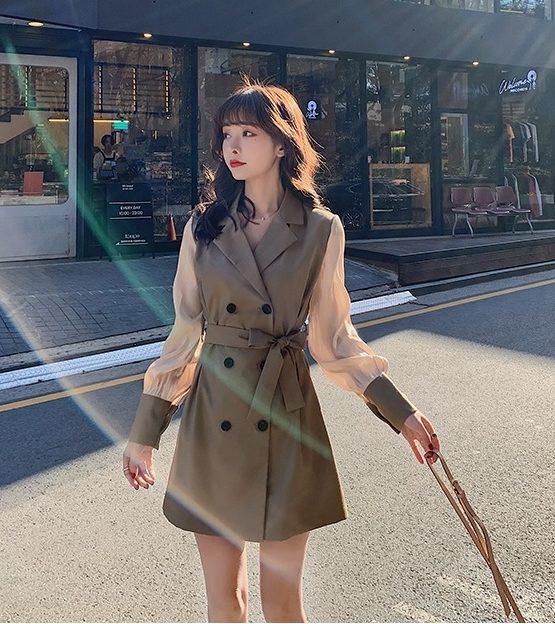 K210 : Áo khoác kaki cổ vest HQ phối tay voan lụa thắt eo