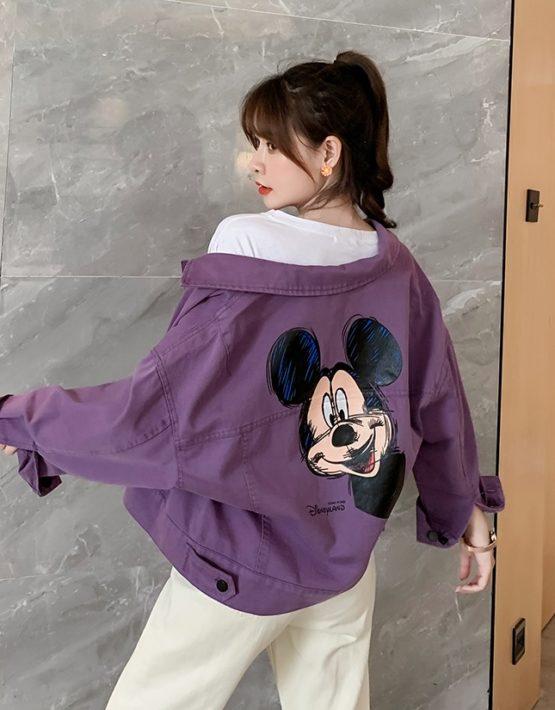 K216 : Áo khoác Jean tím HQ in chuột mickey trẻ trung cá tính