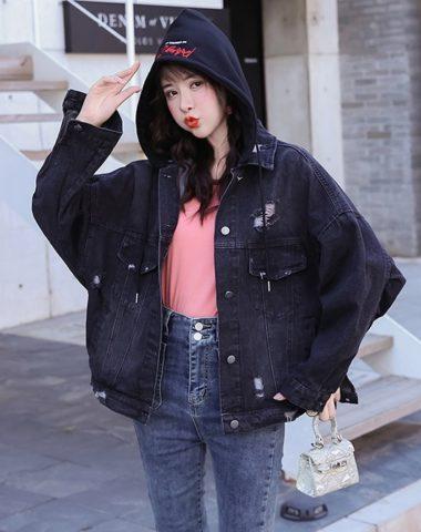 K217 : Áo khoác Jean HQ mũ nỉ thêu mùa thu mới 2020