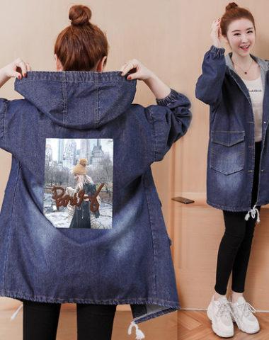 K220 : Áo khoác Jean thân dài in sau lưng có mũ