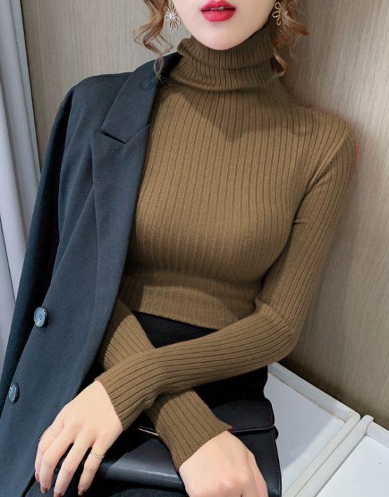 AL201 : Áo len dệt kim ôm cổ lọ cao ấm áp