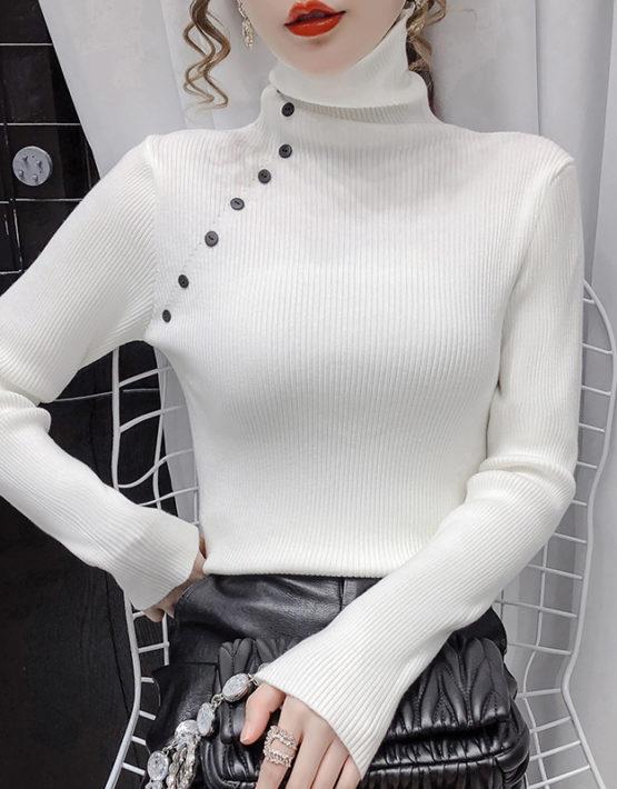 AL210 : Áo len dệt kim HQ cổ lọ cao đính nút chéo 1 bên