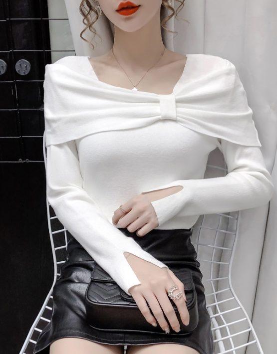 AL202 : Áo len dệt kim cổ ngang vai nơ HQ
