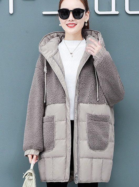 K224 : Áo khoác lông cừu phối phao có mũ sau