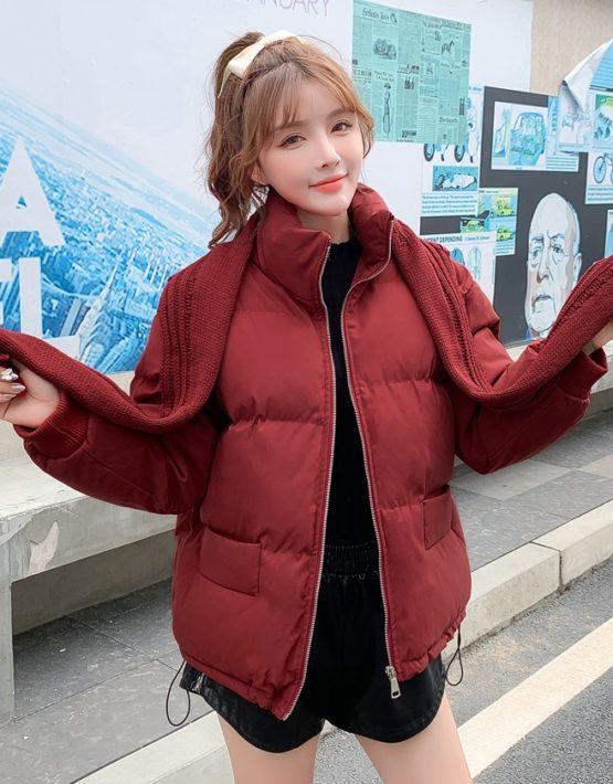 K227 : Áo khoác phao thân ngắn HQ (kèm mũ khăn len)