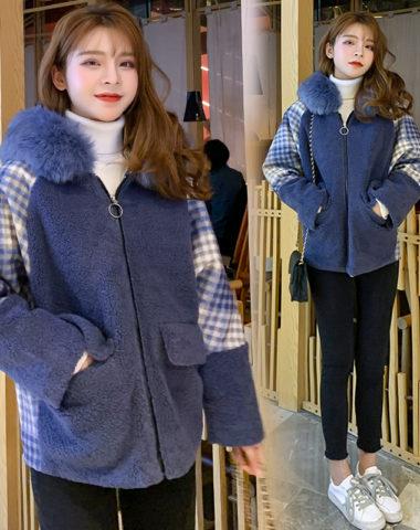 K226 : Áo khoác lông cừu tay cánh dơi mũ lông thú dày ấm áp