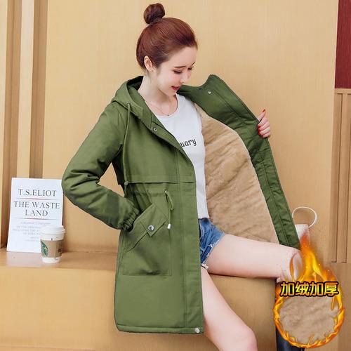 K229 : Áo khoác phao lót lông cừu rút eo thân dài có mũ
