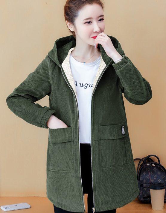 K223 : Áo khoác nhung lót lông cừu có mũ sau ấm áp