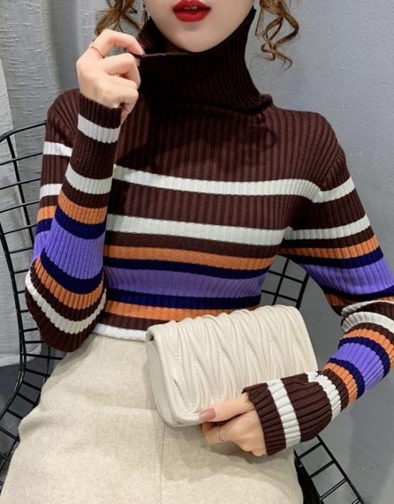 AL205 : Áo len dệt kim cổ lọ gập sọc kẻ nhiều màu HQ