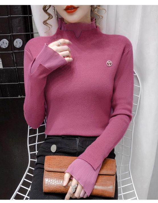 AL207 : Áo len dệt kim HQ phối cổ và tay viền bèo