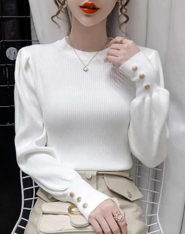 AL209 : Áo len dệt kim HQ cổ tròn tay phồng đính hạt