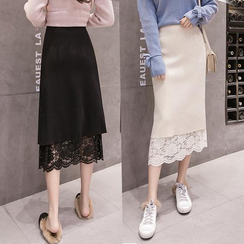 CV209 : Chân váy len dệt kim và ren hoa mặc 2 mặt