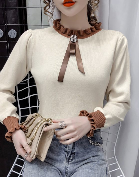 AL212 : Áo len dệt kim HQ cổ và tay viền bèo nhỏ cài nơ