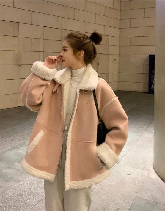 K233 : Áo khoác da lộn lót HQ lông cừu dày ấm áp