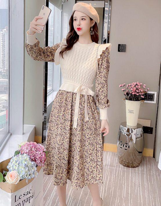 DL206 : Đầm nhung hoa liền thân áo len viền bèo dễ thương