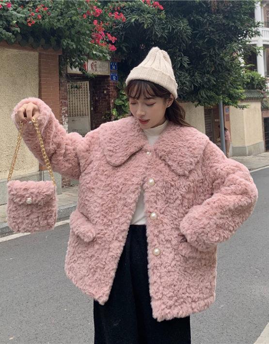 K234 : Áo lông cừu HQ cổ bẻ nút ngọc trai (kèm túi)